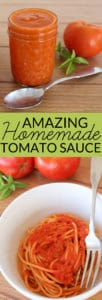 Amazing Tomato Sauce Recipe - This easy homemade tomato sauce uses a few basic ingredients and can be served over pasta, made into lasagna, or even used as pizza sauce.