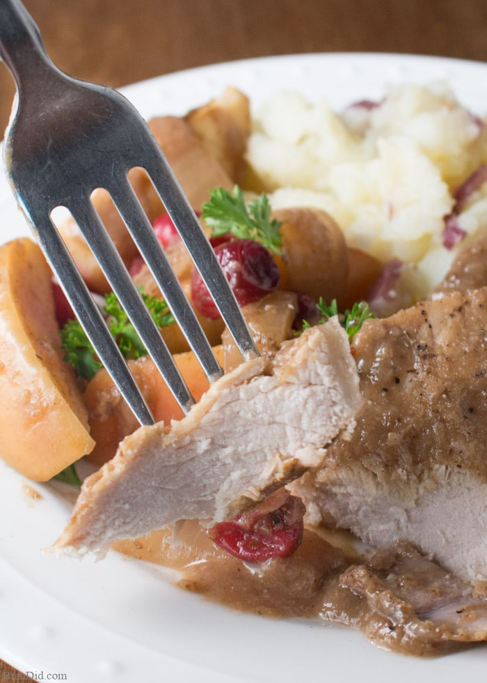 Boneless Pork Chops Or Pork Ribs Simmer With Cranberries Onion