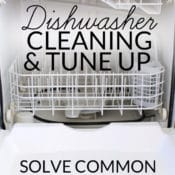 Green clean your dishwasher with this simple tutorial to remove build up, solve drainage problems and keep it sparking clean, and running like new!