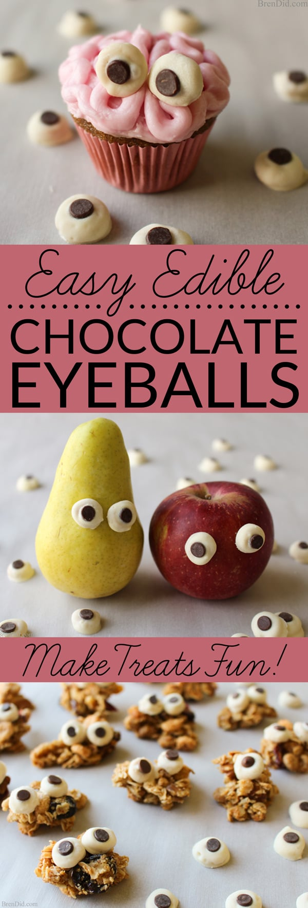 Easy Edible Chocolate Eyeballs - Delightful & tasty edible candy eyeballs made with white chocolate, mini chocolate chips and Cheerios dress up any treat.