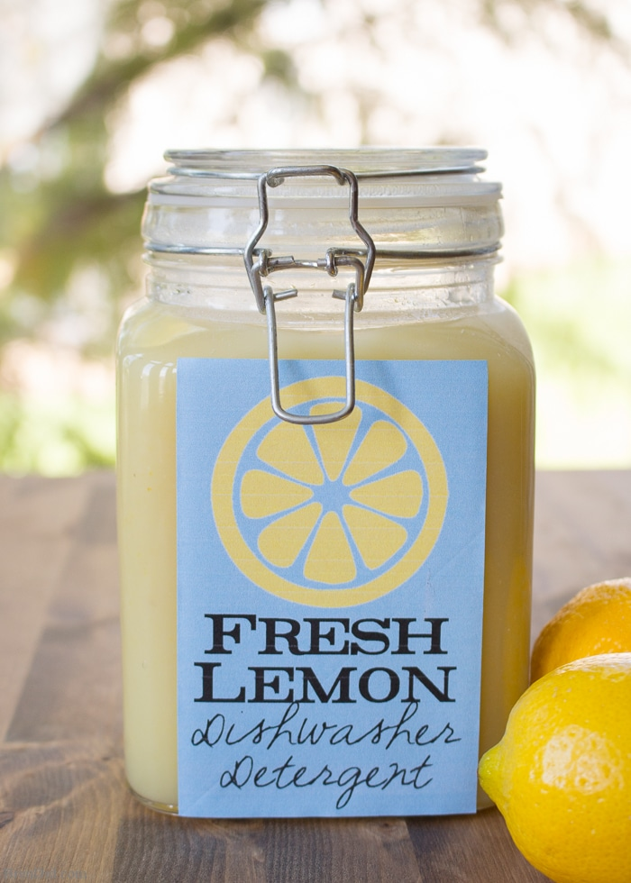 Fresh Lemon Homemade Dishwasher Detergent uses real lemons, salt and vinegar to make liquid dishwasher