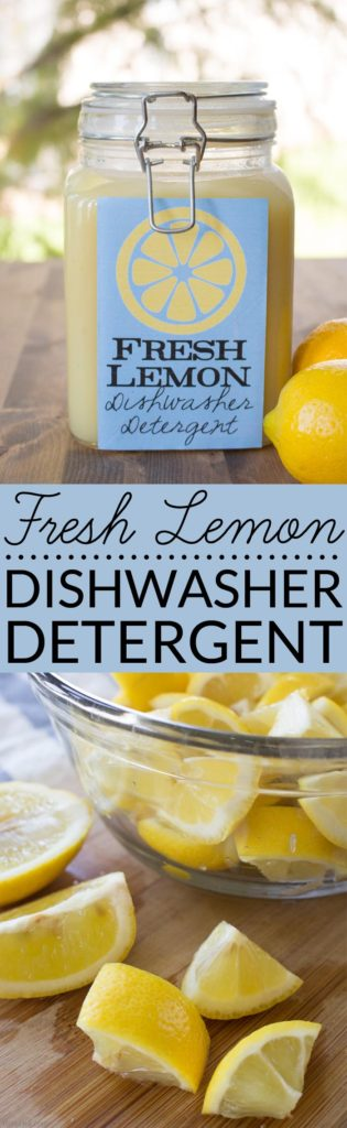 Fresh Lemon Homemade Dishwasher Detergent uses real lemons, salt and vinegar to make liquid dishwasher detergent. Learn more about this DIY recipe and its effectiveness.