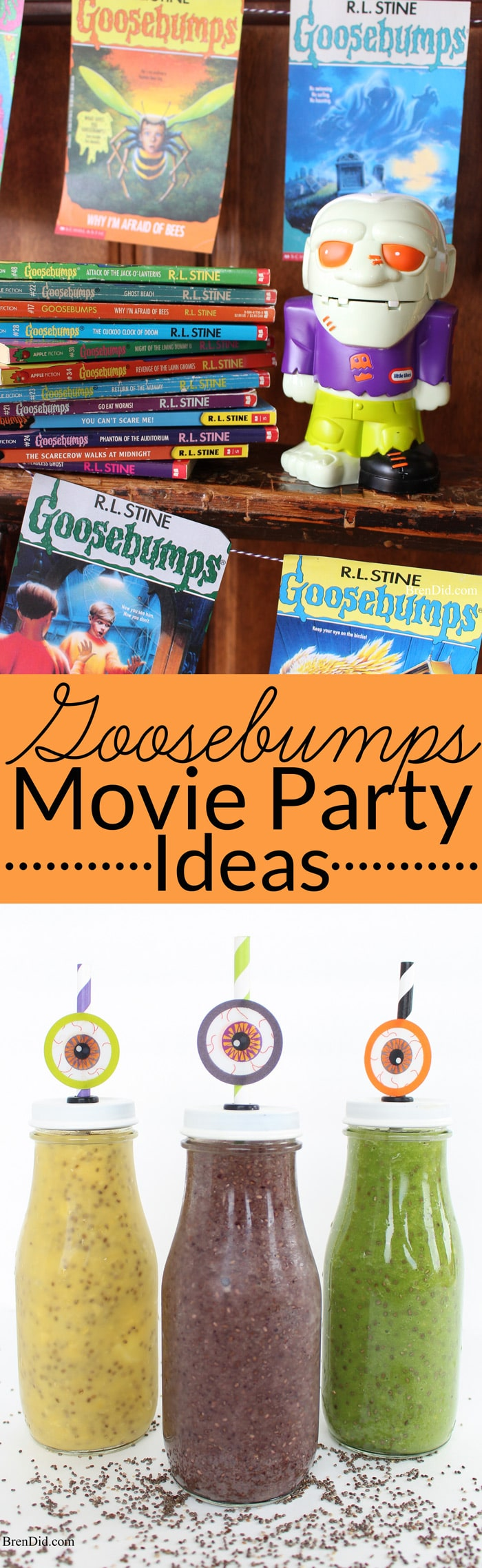 Do your kids love Goosebumps books? Host a family fun night featuring Goosebumps Movies or hold a Goosebumps party with this easy Goosebumps banner and creepy smoothie recipe. Kids parties, DIY, R.L. Stein