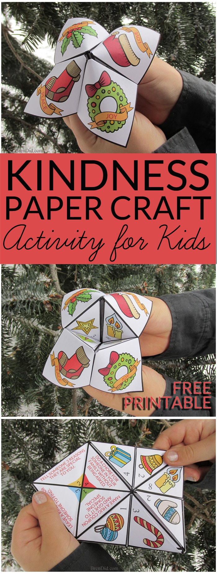 Kids love this free printable Random Acts of Kindness activity. It's a  free printable Random Acts of Kindness for Kids Christmas Cootie Catcher that encourages a spirit of generosity and giving in children.