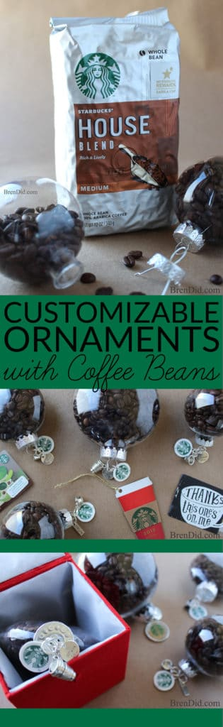 Create the perfect customizable ornament for all the coffee lovers on your gift list with this holiday craft idea, This tutorial for easy coffee bean ornaments is an easy and affordable way to make the season merrier!