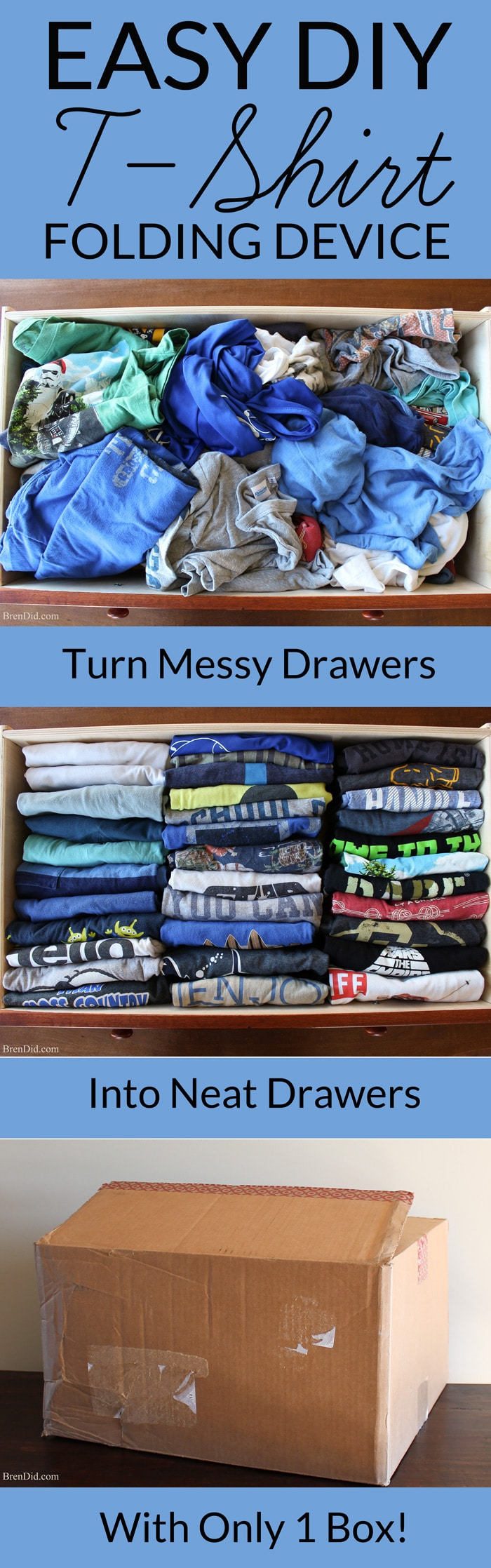 Make your own cardboard t-shirt folder and learn the best way to fold a t-shirt so your drawers can hold more clothes and you can easily find your favorite tee. Great for kids to help with laundry.