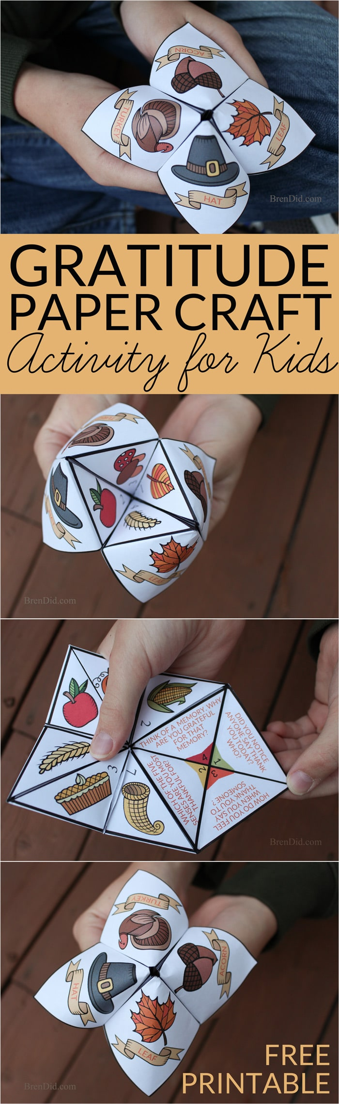 Gratitude activity for kids, thankfulness activity, Thanksgiving craft for kids Practice thankfulness with this free printable Thanksgiving Cootie Catcher. This easy Thanksgiving craft teaches thankfulness & helps kids think about what they are thankful for in life. Free printable craft for kids. Easy Kids Thanksgiving Activity.