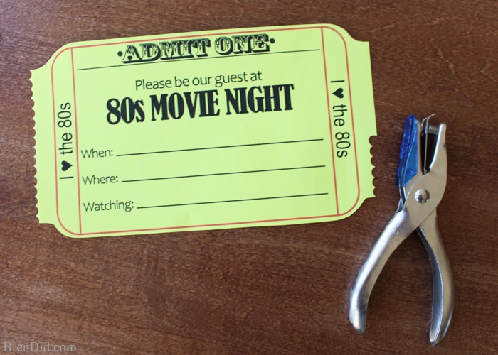 Love this idea! Throw a 1980s Movie Night for your family with free printable movie ticket invitations, an easy homemade caramel corn recipe, and a great list of the best family films from the 1980s.