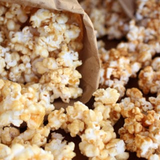 Homemade caramel corn in a bag