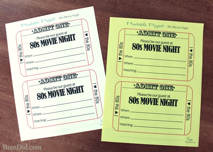 Throw A 1980s Movie Night For Your Family With Free Printable Movie  Free Printable Movie Ticket Invitations