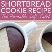 This Coffee and Chocolate Shortbread Recipe is perfect for cookie exchanges and holiday gifts. Simple chocolate dipped mocha shortbread cookies are beautiful and tasty. Includes free printable gift tags for coffee lovers.