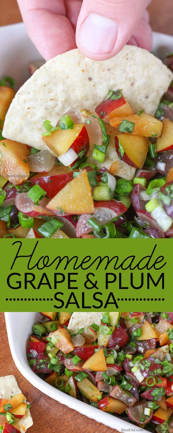 Must try for the Super Bowl or New Year's Eve! Grape and plum homemade salsa is a great alternative to basic chips and dip. Spicy sweetness make it the perfect easy appetizer. Great for parties and the star of Super Bowl snacks.