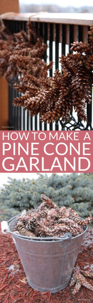 Learn how to make an pine cone garland for a touch of woodland style. This easy tutorial shows you how to create your own easy pine cone garland for less than $1.30 per foot. Eco-friendly.