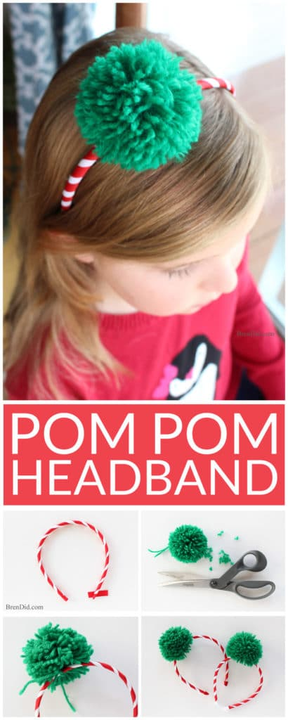 Learn how to make a Pom Pom Headband. Easy craft tutorial. These fun and trendy pom pom headbands are an adorable addition to any outfit and cost less than $2.25! DIY