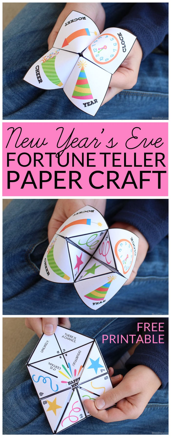 "Make New Year's Eve a fun family celebration! This free printable New Year's Eve party game is great for both kids and adults. The paper fortune teller will ""magically"" predict the answers your most burning questions for the next year as you select pictures and numbers."