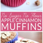 Looking for a healthy muffin recipe? This easy Apple Cinnamon Muffin recipe contains no sugar, is flour free, and has no butter or oil. It is sweetened with dates and tastes amazing! Your family will enjoy the muffins and you will enjoy serving a healthy breakfast treat.