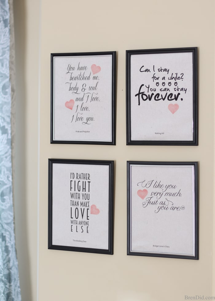 Romantic Movie Quotes Valentine Printables - Bren Did