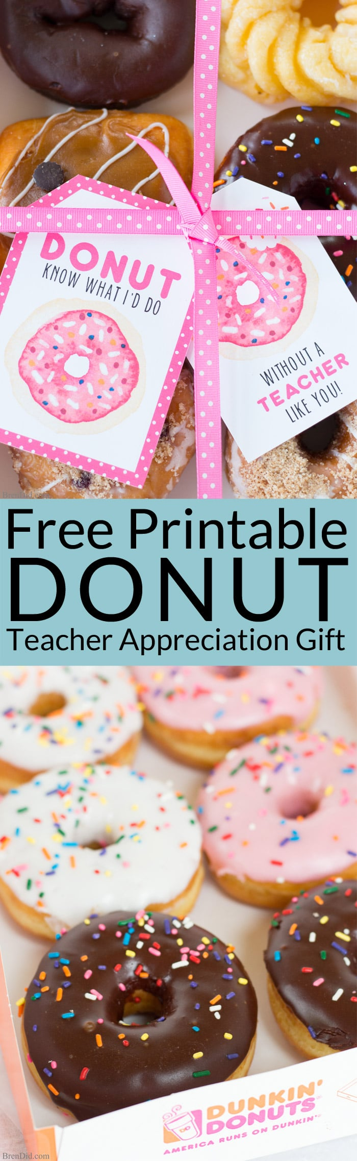 The end of school year is approaching! Tell your teacher thank you with this easy teacher appreciation gift and free printable gift tag featuring fun donut sayings. Great idea for teacher appreciation week or end of year teacher gifts. DIY Teacher Gifts, Simple Teacher Appreciation Gift, Teacher Appreciation Gift Ideas.