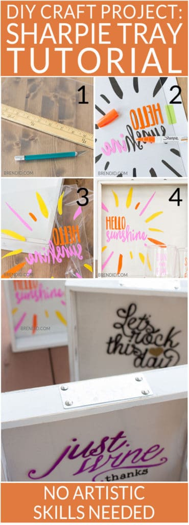 DIY Sharpie Tray Tutorial with 4 Easy Trace Patterns - Custom wine tray with matching glasses, requires no artistic ability. If you can trace you can make this craft! Sharpie paint pens make the project mess free. Perfect for a Pinterest craft party. DIY Sharpie Crafts , easy craft project