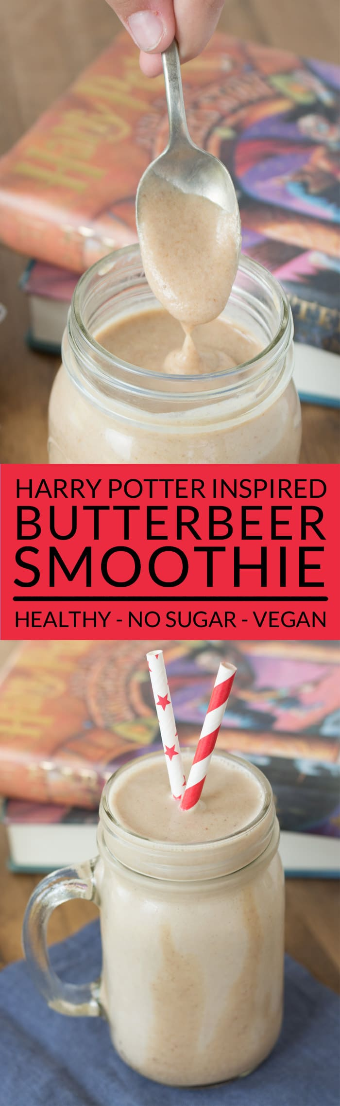Make a homemade Harry Potter Butterbeer Smoothie and feel the magic! This easy smoothie recipe tastes like the Butterbeer sold at Hogsmeade in the Wizarding World of Harry Potter but it contains no sugar and it's vegan. Perfect for healthy kids! Only six ingredients! Healthy Smoothies to Try.