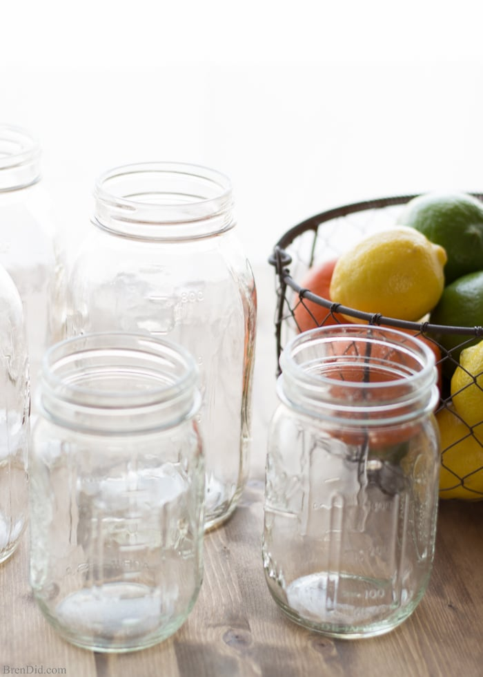 Scented Vinegar Mason jars and citrus fruit