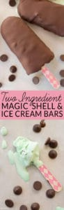 Homemade Ice Cream Bars are a guilty pleasure with a little less guilt when you make your own two ingredient chocolate coating. This easy magic shell recipe is great on fruit, an ice cream bar, or even a bowl of ice cream. Try it today!