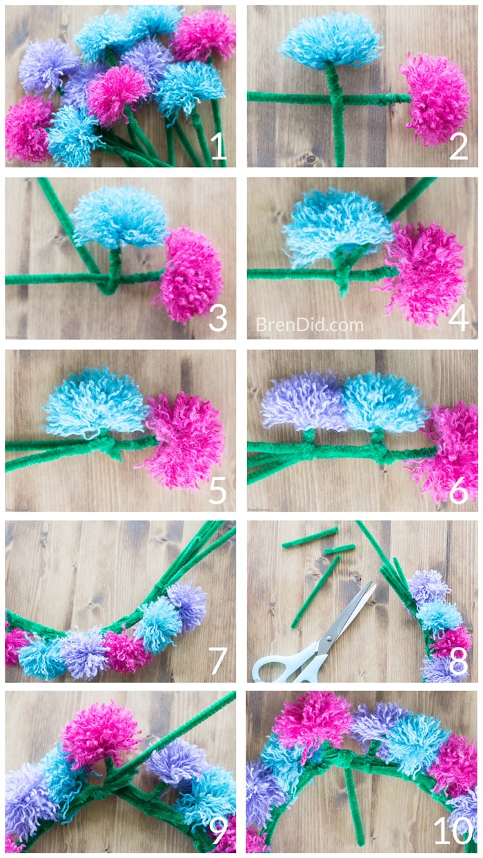 Learn how to make easy tassel flower crowns with yarn pipe cleaners how to make tassel flower crowns make an easy diy tassel flowers crown with yarn izmirmasajfo