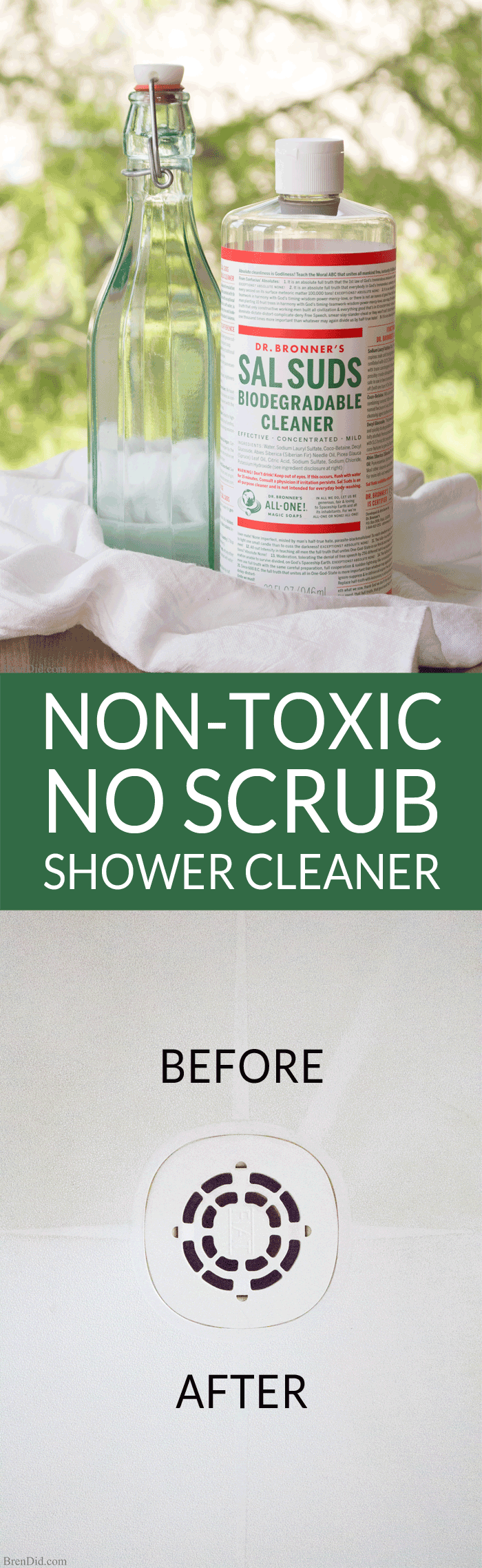 Non-toxic no scrub shower cleaner melts soap scum, tub rings, and shower buildup, no scrub needed! Uses only two natural ingredients.