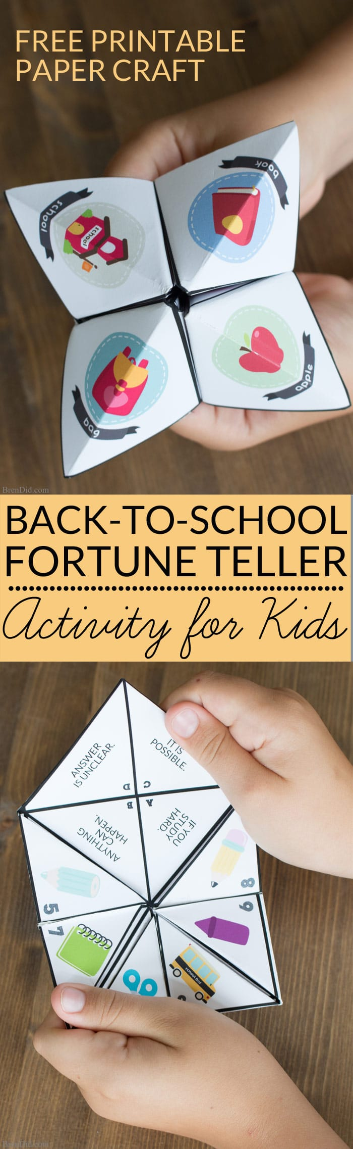 Back to school paper fortune teller, conversation starting game for students and adults. Free printable cootie catchers (paper fortune tellers) are an easy back to school activity for kids.