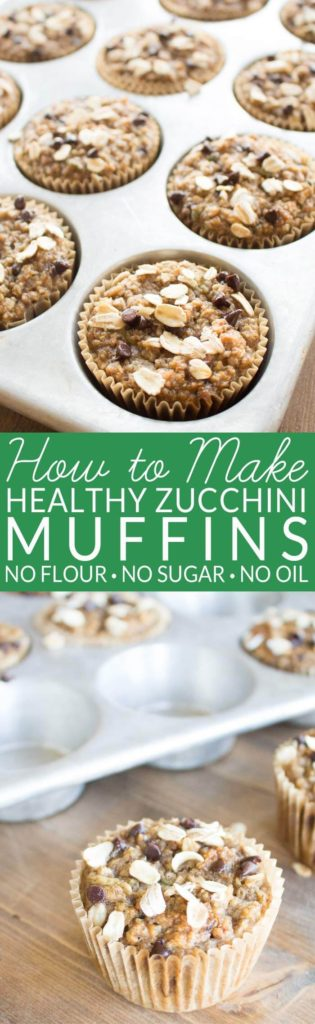 Healthy Zucchini Muffins contain no oil, no refined sugar, and no flour. The oil and sugar are replaced with ripe bananas and the flour is replaced with whole grain oats. Zucchini and spices give the muffins classic zucchini bread flavor. Enjoy a fall favorites with no gui