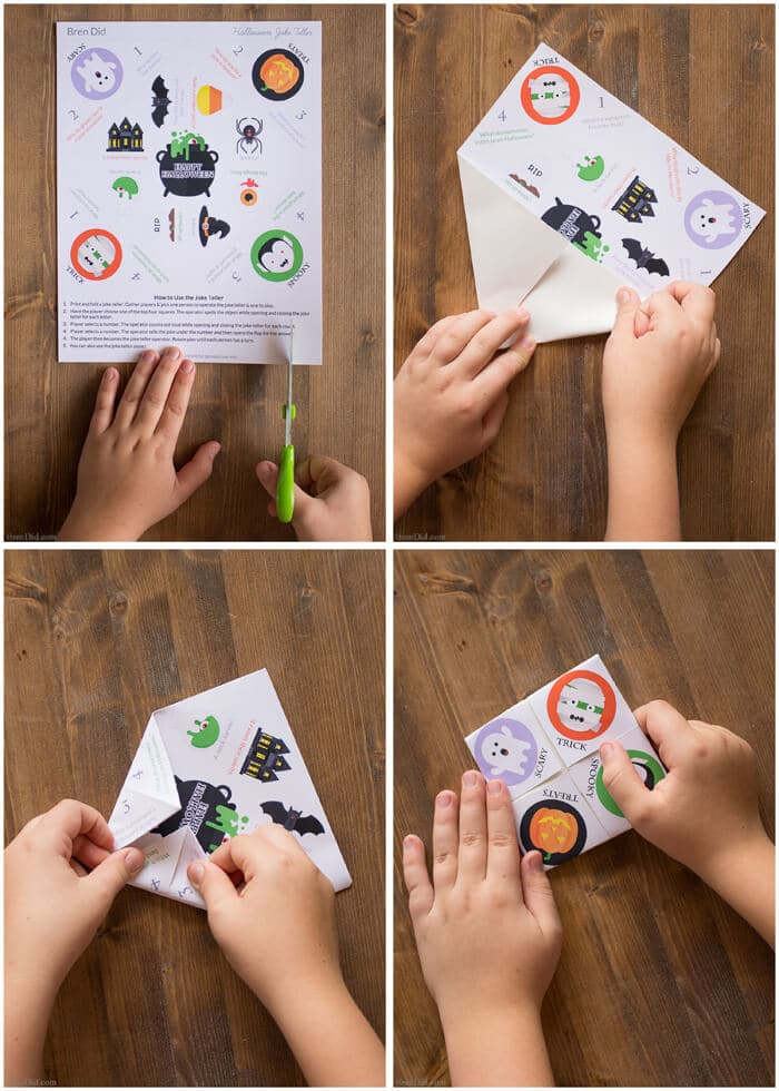 Halloween Joke Tellers for Kids - Make easy Halloween cootie catchers with your kids for a delightful Halloween treat that focuses on fun not sugar or candy. Free printable Halloween craft for kids. Halloween fortune Tellers. Healthy Halloween treat for kids.