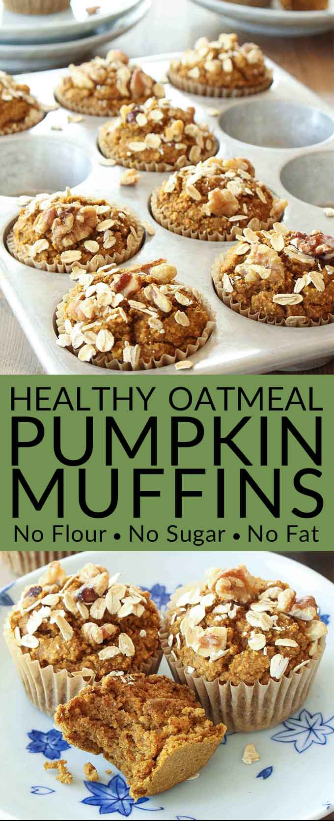 No Flour, Sugar Free, Oil Free, Dairy Free Healthy Pumpkin Muffins Recipe - Love pumpkin baked goods but hate junk food? These healthy pumpkin muffins are tasty and guilt free (gluten free, sugar free, oil free & dairy free)! #pumpkinmuffins #muffins #brendid #pumpkin #pumpkinbread #glutenfree #glutenfreemuffins
