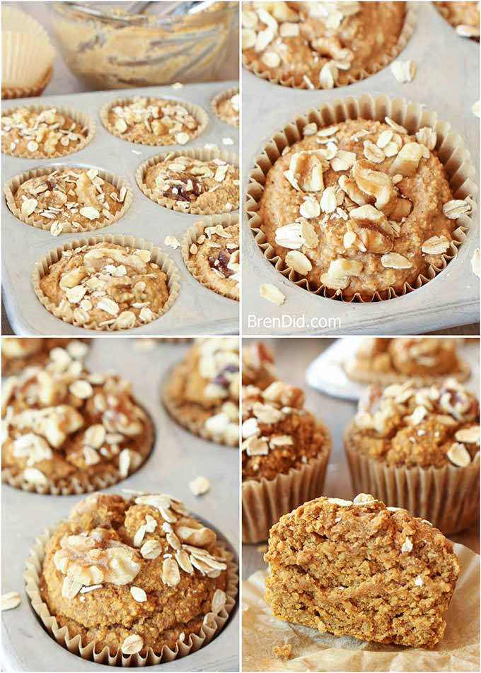 Making pumpkin muffins collage