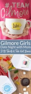 Throw a fun Gilmore Girls Date Night for someone special with custom invitation, DIY #teamGilmore lounge wear, Stars Hollow take out boxes, and Netflix. Grab all the freebies today! A special thanks to Netflix for sponsoring this post. #StreamTeam