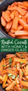 Roasted carrots are cooked in a light sauce of butter, honey, ginger, and lemon. The oven brings out the naturally sweet flavor of the roasted carrots and turns the sauce into a tasty glaze.