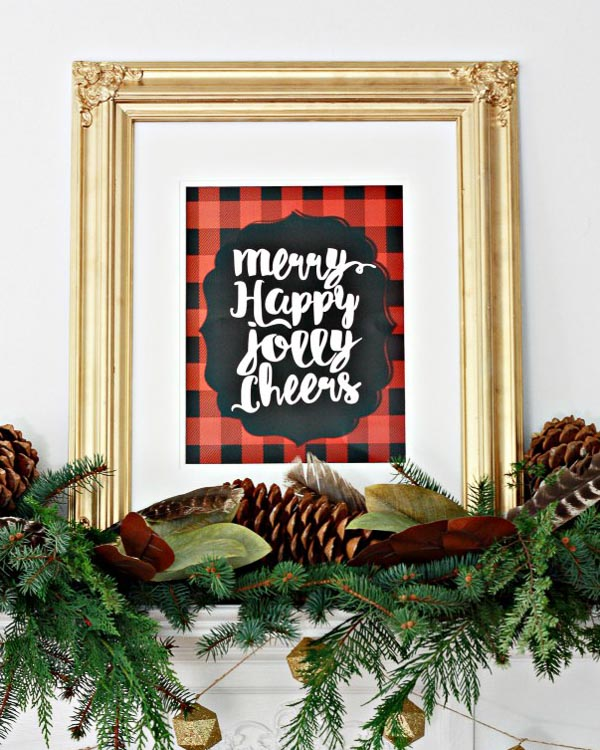merry happy jolly buffalo plaid printable