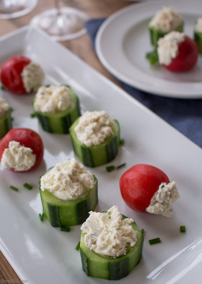 Looking for a quick and easy hors d'oeuvre? This 5 minute appetizer recipe for Cucumber and Pepper Cups is sure to impress your guests. It pairs crisp vegetables with creamy cheese for the perfect bite!