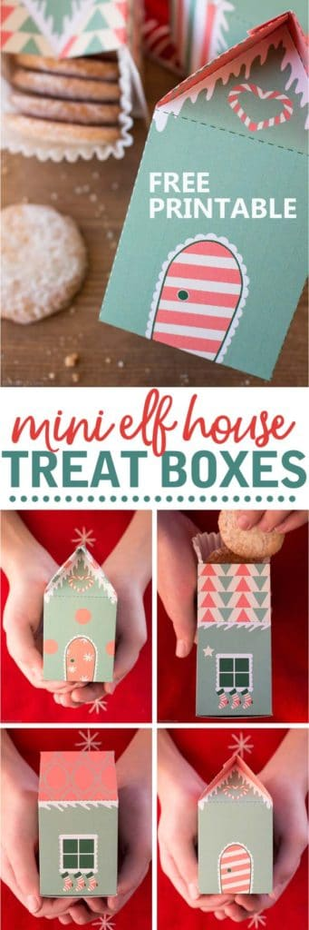 Elf house treat boxes for Christmas. These free printable treat boxes capture the magic of elf villages. They make perfect Secret Santa presents, stocking stuffers, and cookie holders.