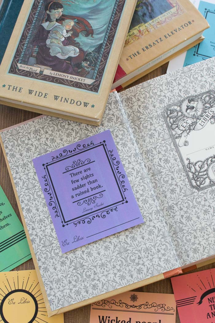 Lemony Snicket quotes, A Series of Unfortunate Events, free printable bookplates, Daniel Handler quotes, book labels