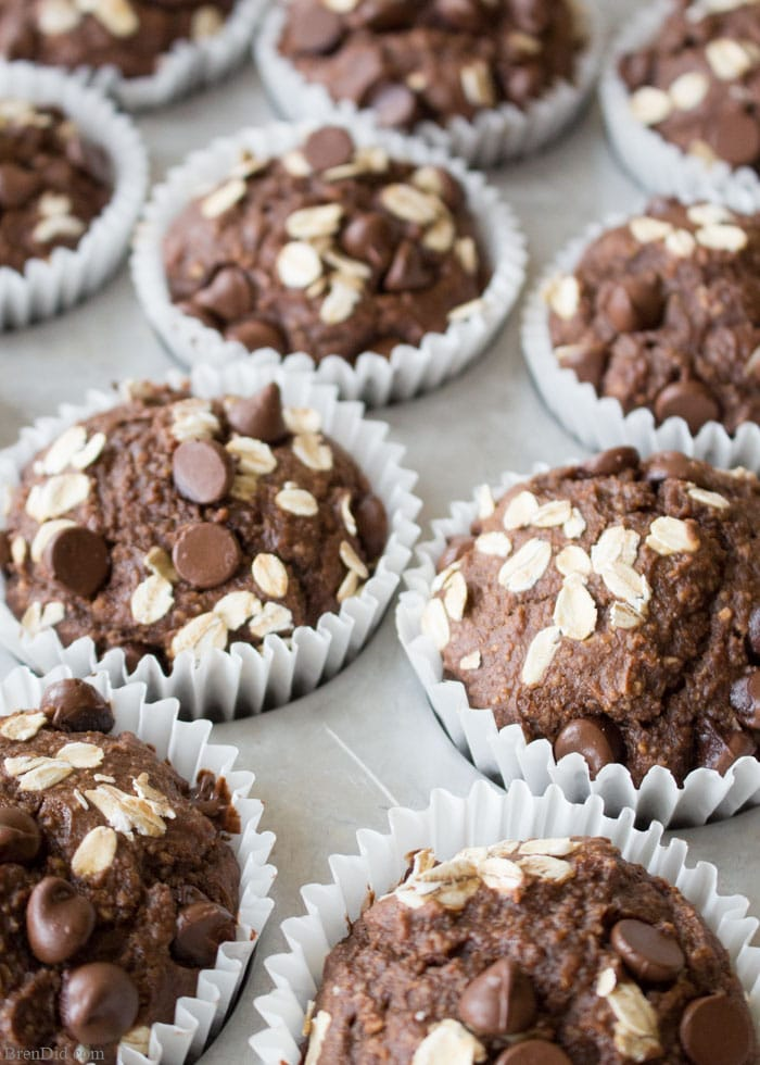 Healthy Chocolate Peanut Butter Muffins are full of chocolate peanut butter flavor but contain no flour, no refined sugar and they're oil free.