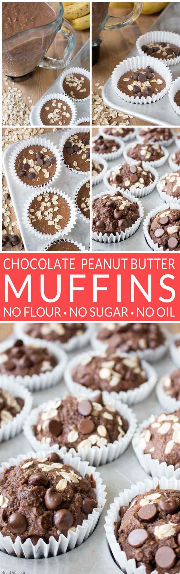 Healthy Muffins | Chocolate Peanut Butter Muffins | Blender Muffins | Chocolate pb flavor with NO flour NO sugar & NO oil