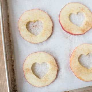 Healthy Oven Baked Apple Chips for Valentine's Day