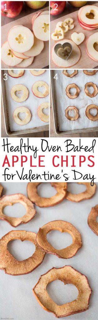 Healthy snacks for kids, healthy valentine snacks, oven baked apple chips, apple chips