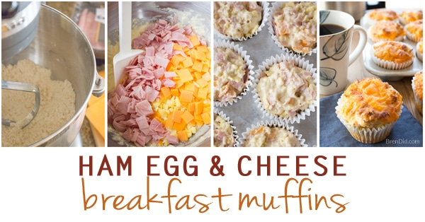 These easy ham egg and cheese breakfast muffins breakfast muffins taste like ham, egg, and cheese biscuits. They are perfect for busy morning when you don't have time to cook but want to serve a hot, homemade meal.
