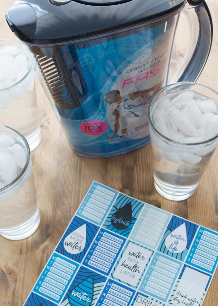 water tacking stickers with Brita pitcher