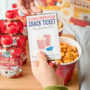 Family movie night concession ticket