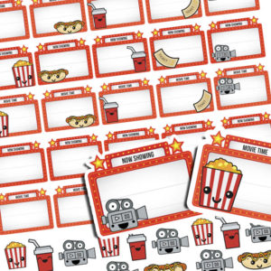 Family movie night planner stickers