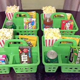 Family movie night snack basket