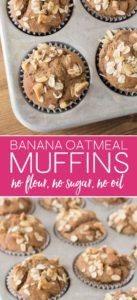 Healthy Banana Oatmeal Muffins Pin