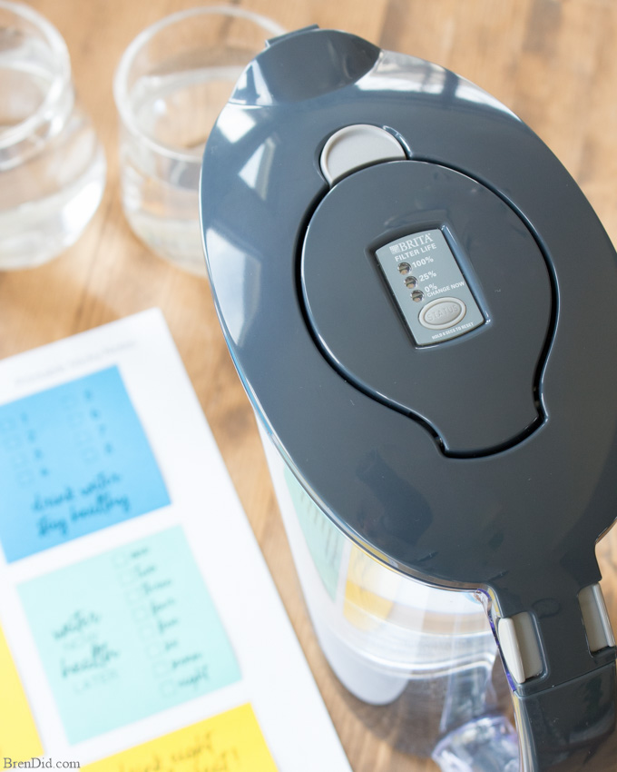 Free Printable Water Tracker Notes with Brita Pitcher